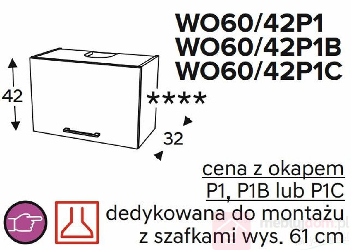 Szafka górna KAMMONO CLASSIC WO60 42 z okapem