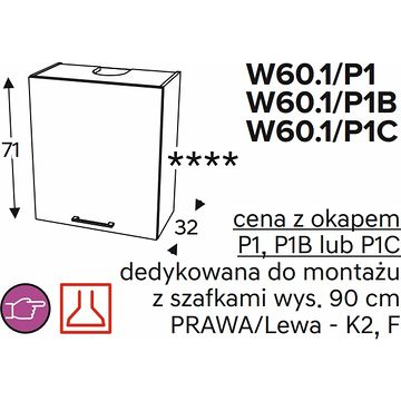 Szafka górna KAMMONO CLASSIC WO60 1 z okapem