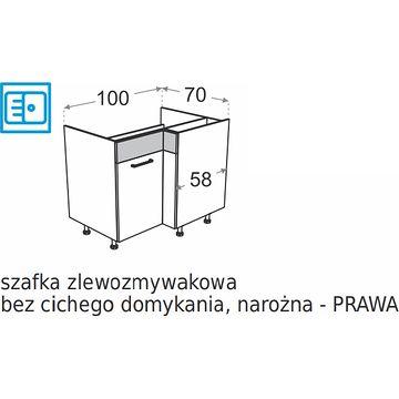 Szafka dolna narożna DML DRZ100x70 Zlewozmywakowa PRAWA