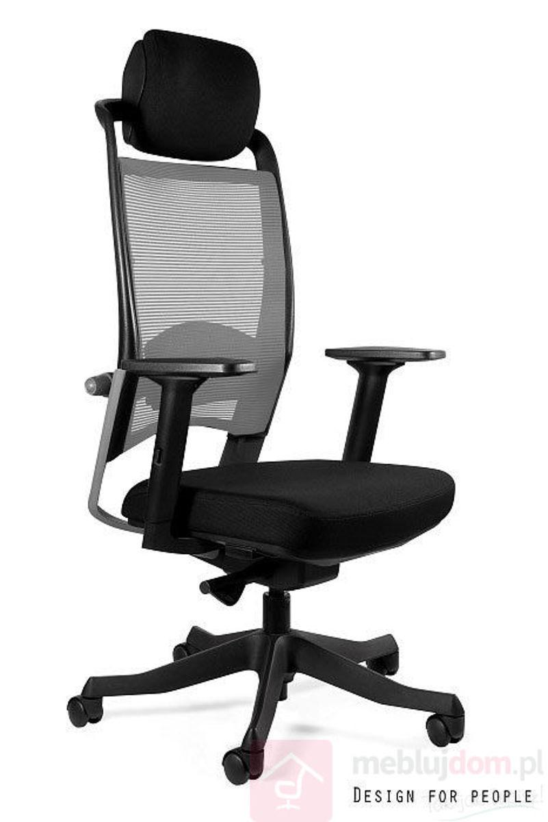 Fotel FULKRUM Unique czarny tkanina/szara siatka
