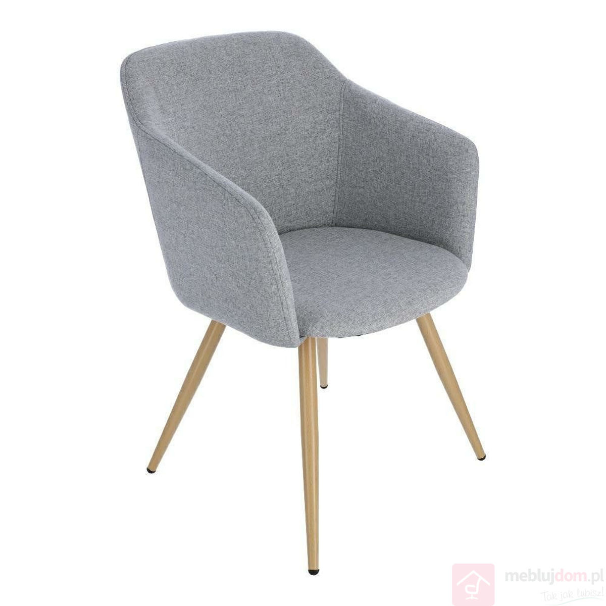 Krzesło Molto jasnoszare na nóżkach w kolorze drewna