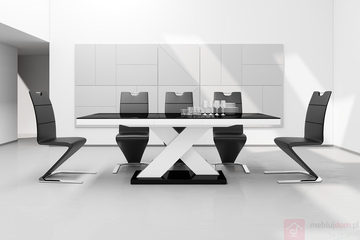 Stół rozkładany Xenon 160 Hubertus Czarno - Biały