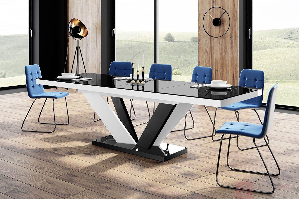 Stół VIVA Hubertus Czarny + Biały / Nogi mieszane