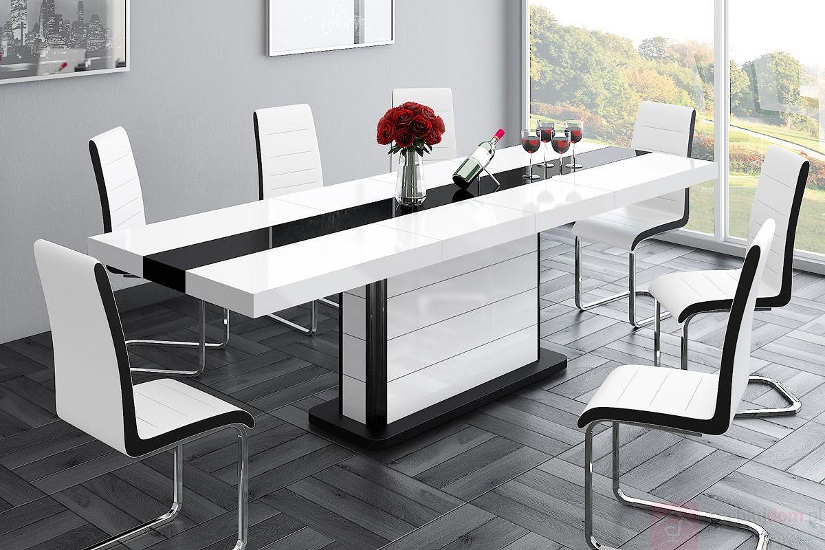 Stół rozkładany PIANOSA Hubertus Biało - Czarny Wysoki połysk rozłożony