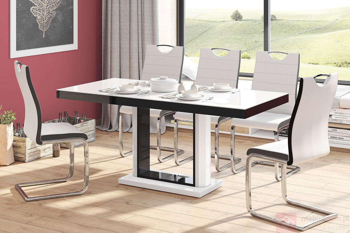 Stół rozkładany QUADRO Hubertus Biało - Czarny rozłożony