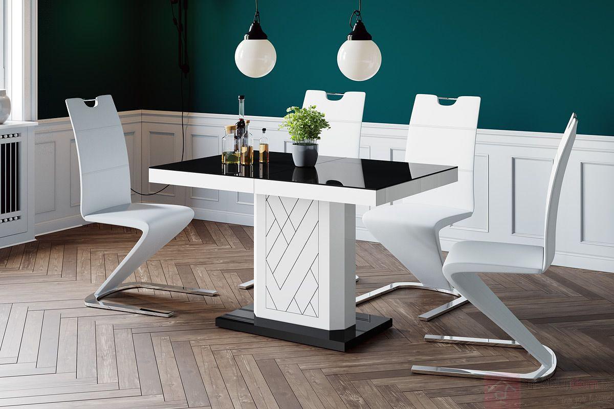 Stół rozkładany RIVIA 120 Czerń + Biel