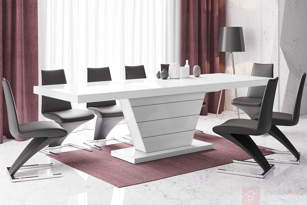 Stół rozkładany VEGA 160 Biały Połysk
