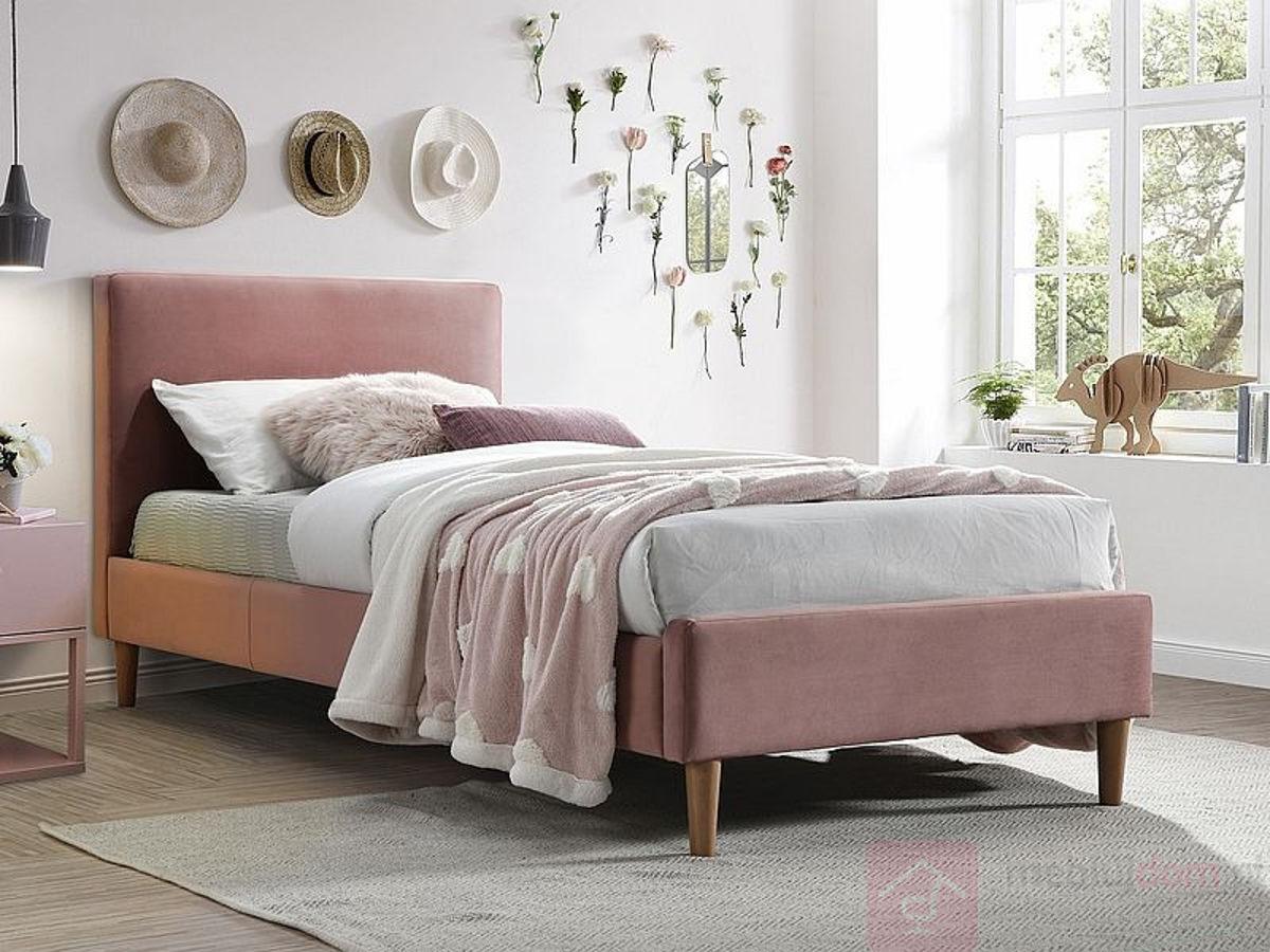 Łóżko ACOMA VELVET 90 Signal Antyczny Róż