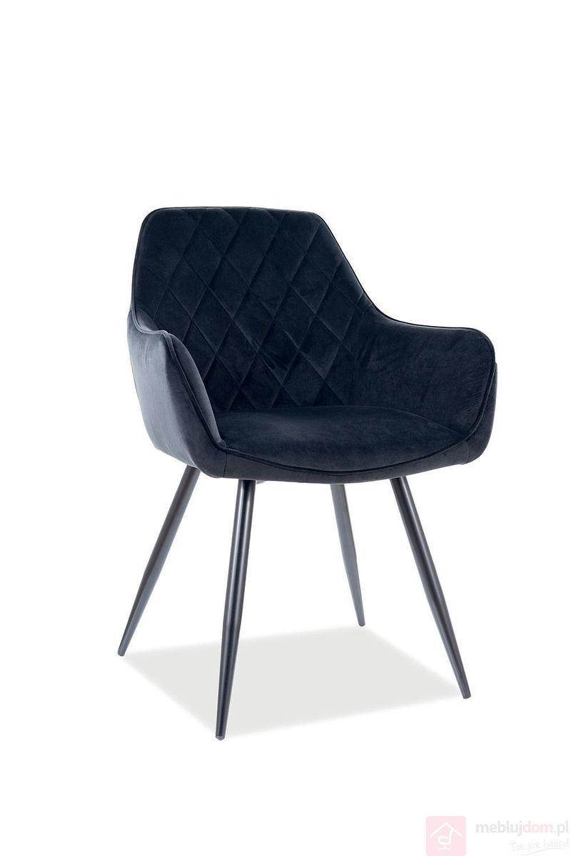 Krzesło LINEA VELVET SIgnal czarny