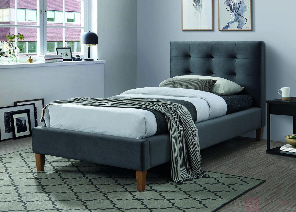 Łóżko TEXAS VELVET Signal pojedyncze szare