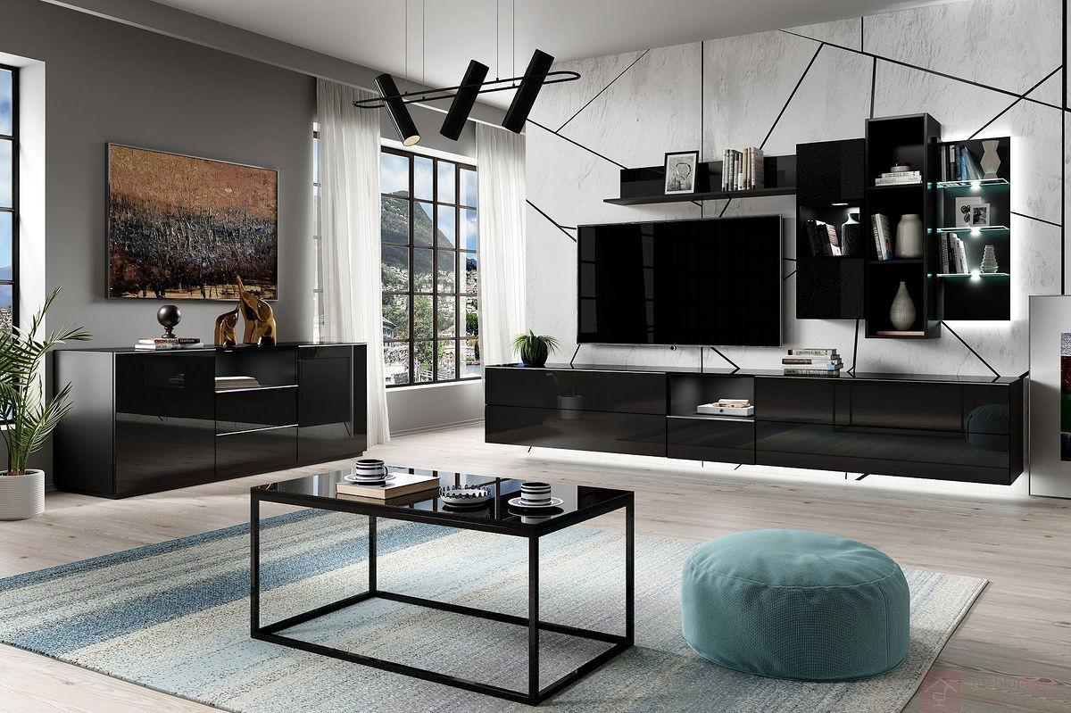 Czarne meble nowoczesne w połysku do salonu