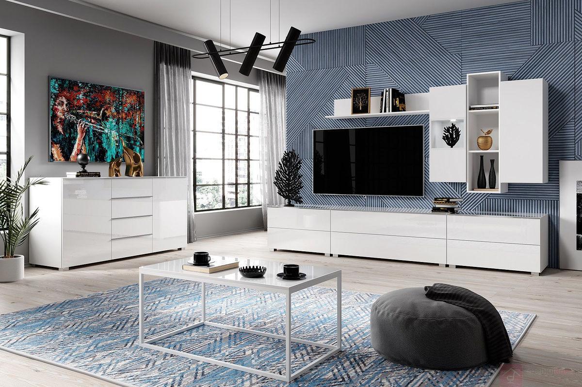 Białe meble nowoczesne w połysku do salonu Helio