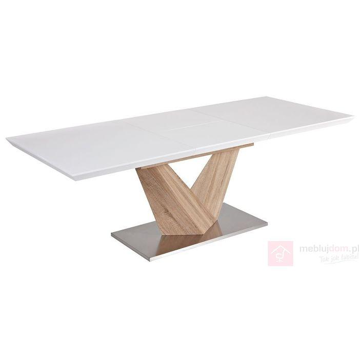 Stół ALARAS Signal Dąb sonoma + biały połysk, 85x140-200 cm