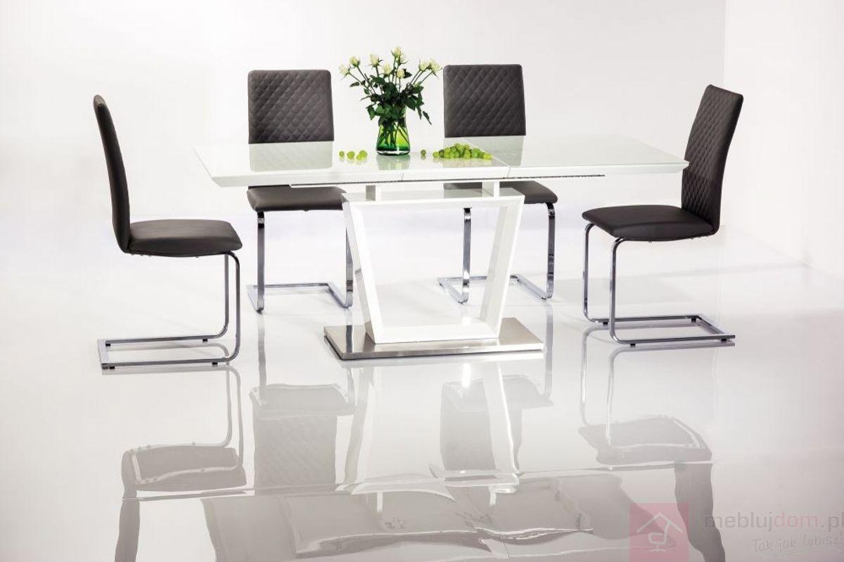 Stół LAUREN Signal Biały połysk, 90x160-220 cm